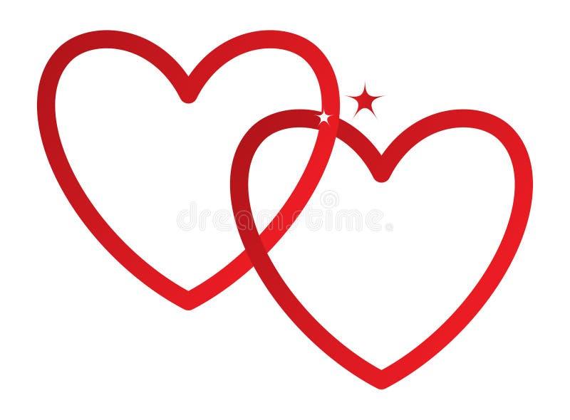 两心脏,连接的红色,传染媒介 库存例证