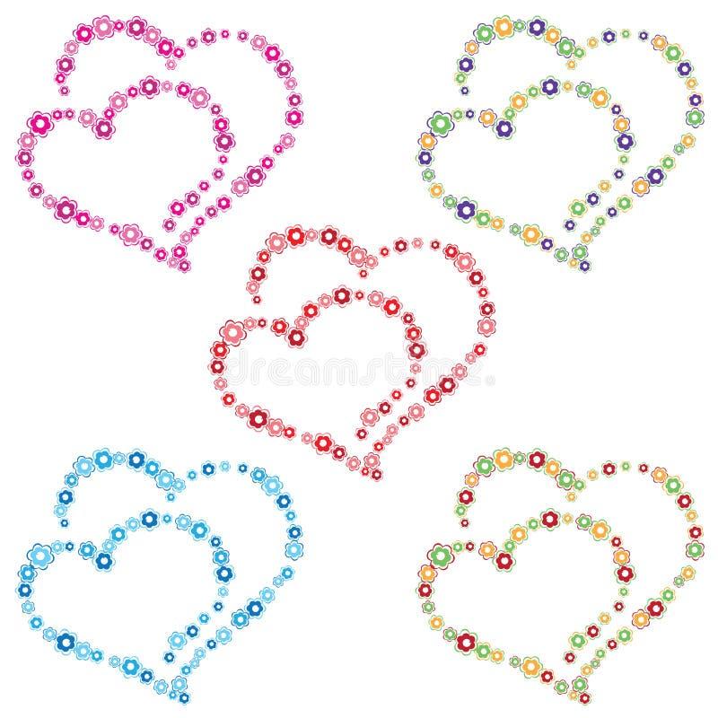 两心脏组成由五颜六色的花 向量例证