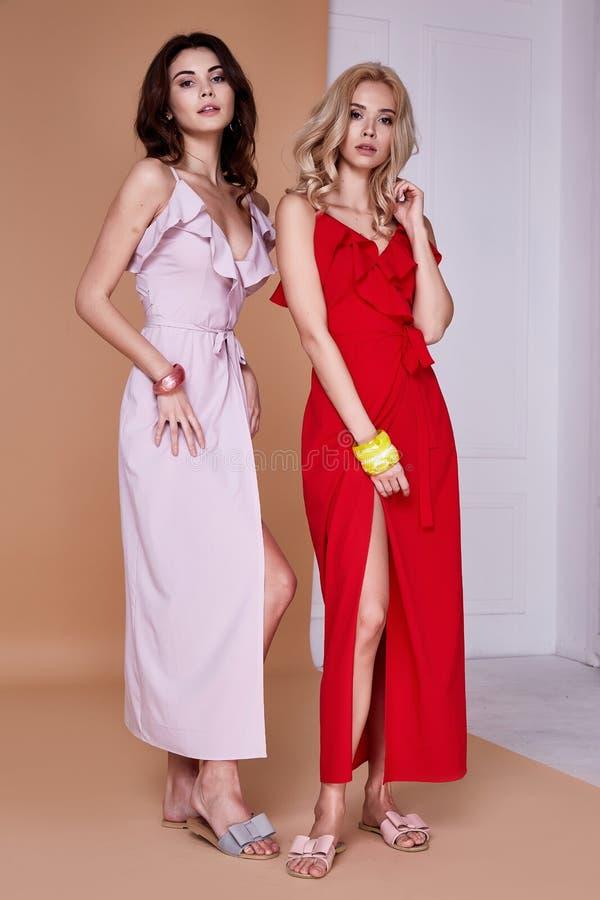 两性感的秀丽妇女俏丽的面孔皮肤穿戴丝绸礼服长的皮肤 库存图片
