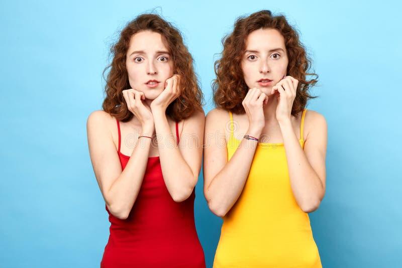 两惊吓了有棕榈的美丽的年轻双姐妹在他们的下巴 免版税库存图片