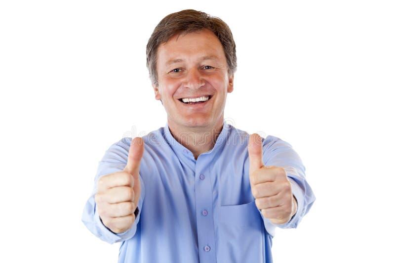 两愉快的人前辈显示微笑赞许 免版税库存照片