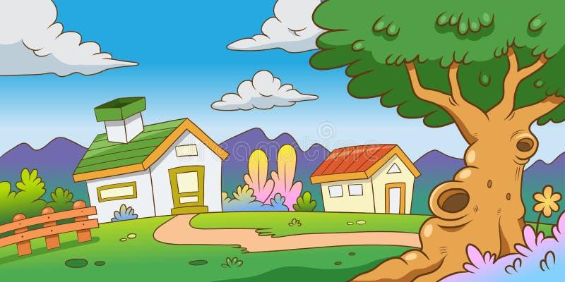 两房子和树在山与绿草在明亮的天空 免版税库存照片