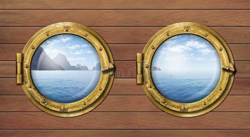 两扇船窗口或舷窗与海或海洋 免版税图库摄影