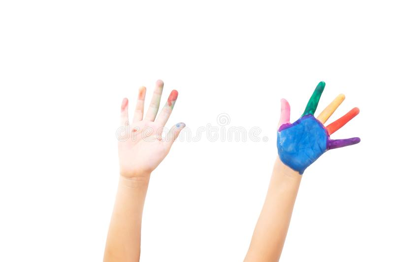 两手在白色孤立背景出现  在左手和手指的绘的颜色 艺术活动 免版税库存照片