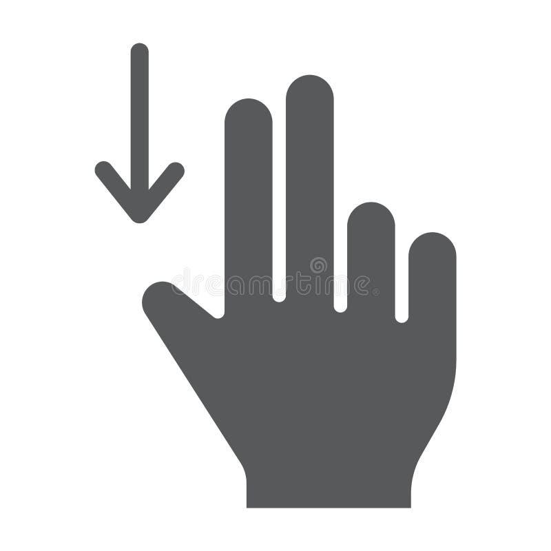 两手指扯拽下来纵的沟纹象、姿态和手,轻打标志,向量图形,在白色背景的一个坚实样式 向量例证