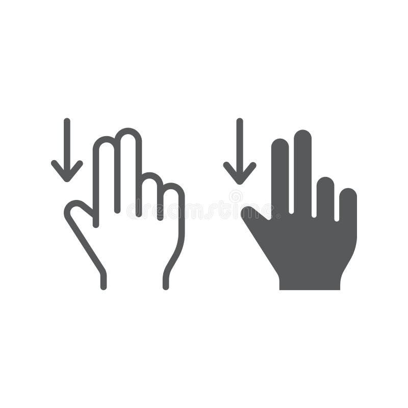 两手指扯拽下来线和纵的沟纹象、姿态和手,轻打标志,向量图形,在白色的一个线性样式 库存例证