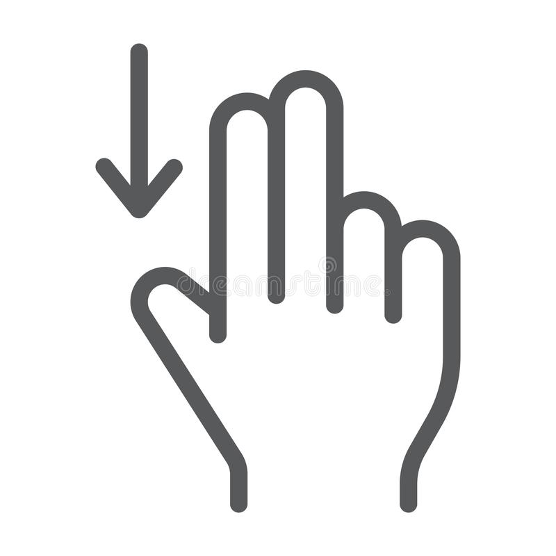 两手指扯拽下来线象,姿态和手,轻打标志,向量图形,在白色背景的一个线性样式 库存例证