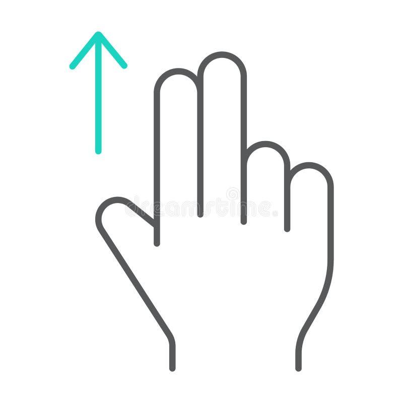 两手指扯拽稀薄的线象,姿态和手,轻打标志,向量图形,在白色背景的一个线性样式 皇族释放例证