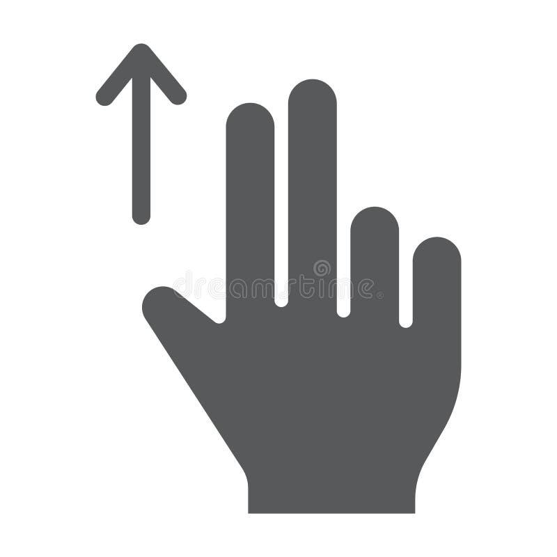 两手指扯拽纵的沟纹象、姿态和手,轻打标志,向量图形,在白色背景的一个坚实样式 向量例证
