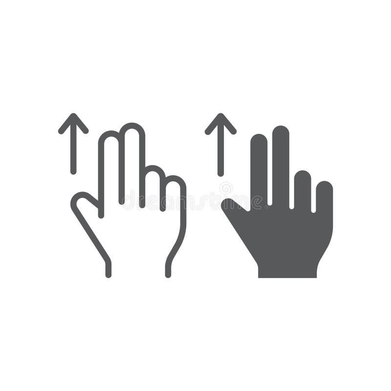 两手指扯拽线和纵的沟纹象、姿态和手,轻打标志,向量图形,在白色的一个线性样式 皇族释放例证
