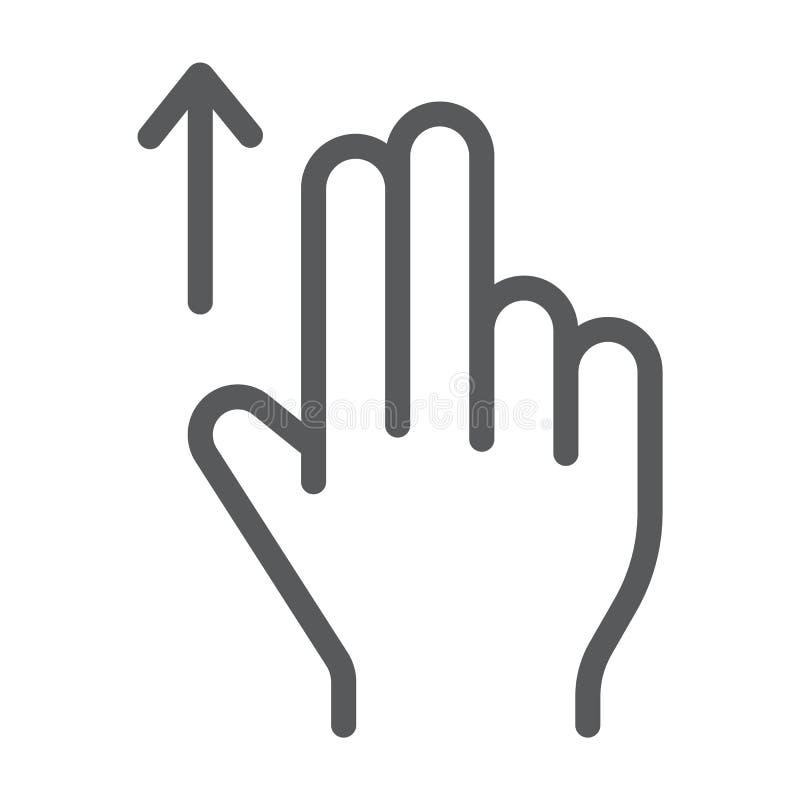 两手指扯拽线象,姿态和手,轻打标志,向量图形,在白色背景的一个线性样式 皇族释放例证