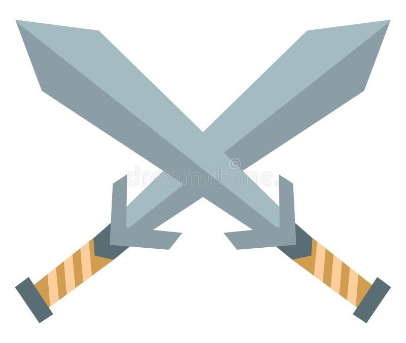 两把交叉剑指向矢量或彩色插图的剪贴画 皇族释放例证