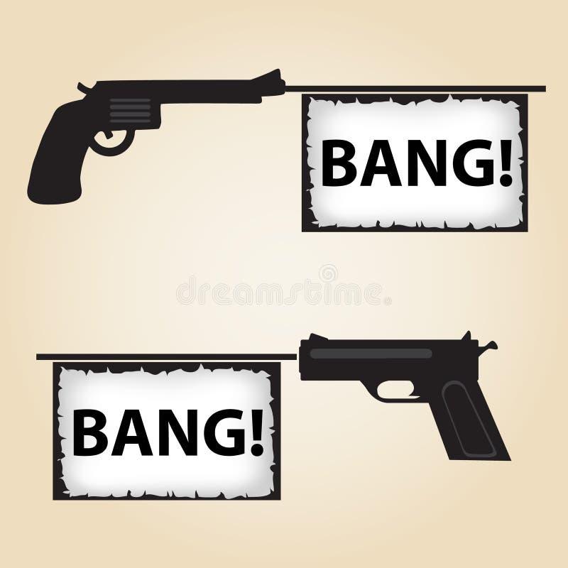 两把手枪与文本的火横幅 向量例证