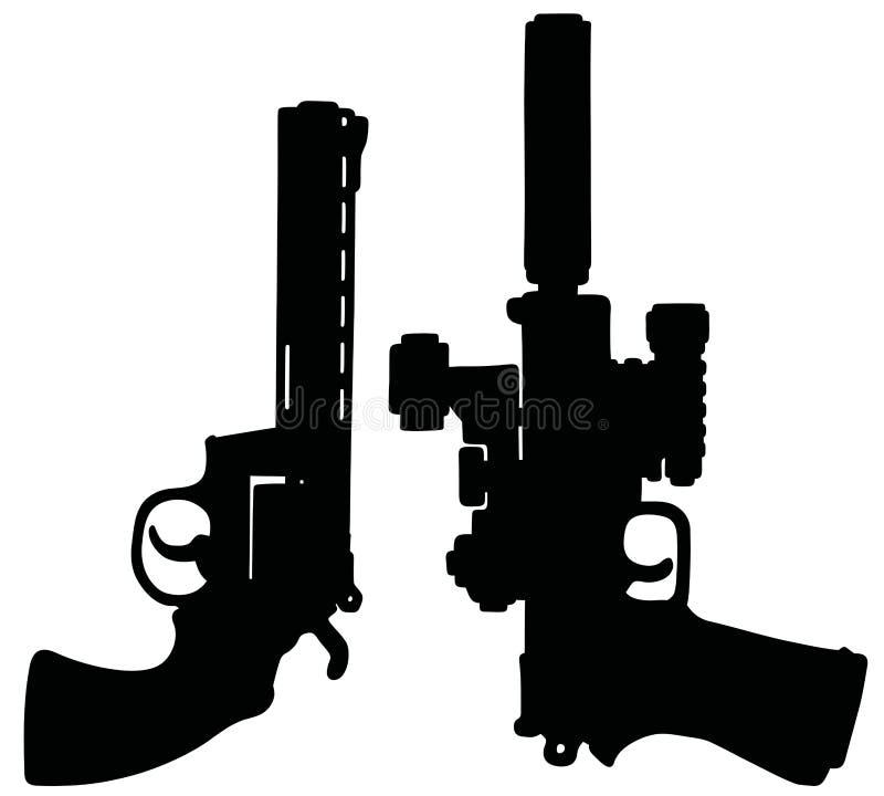 两把黑重的手枪 库存例证