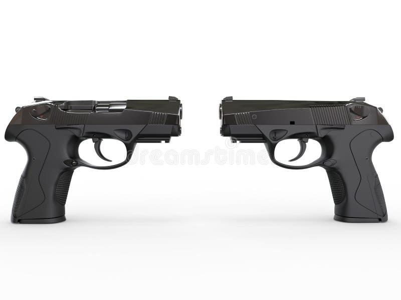 两支现代黑半自动手枪 库存照片