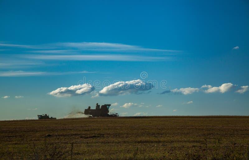 两收割机会集农业收获 免版税库存图片