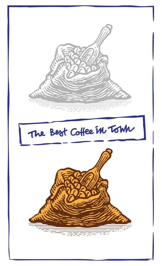两有咖啡豆的大袋与木瓢 手拉的剪影样式 刻记标签的葡萄酒传染媒介例证 皇族释放例证