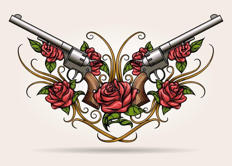 在纹身花刺向量画的对横渡的枪和玫瑰色花也corel凹道样式例证锅圈食汇装修设计图图片