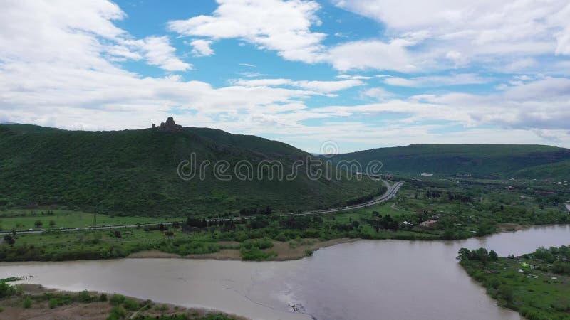 两条河Aragvi和库纳河的合流 图库摄影