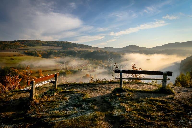 两条长凳在有薄雾的早晨 库存照片