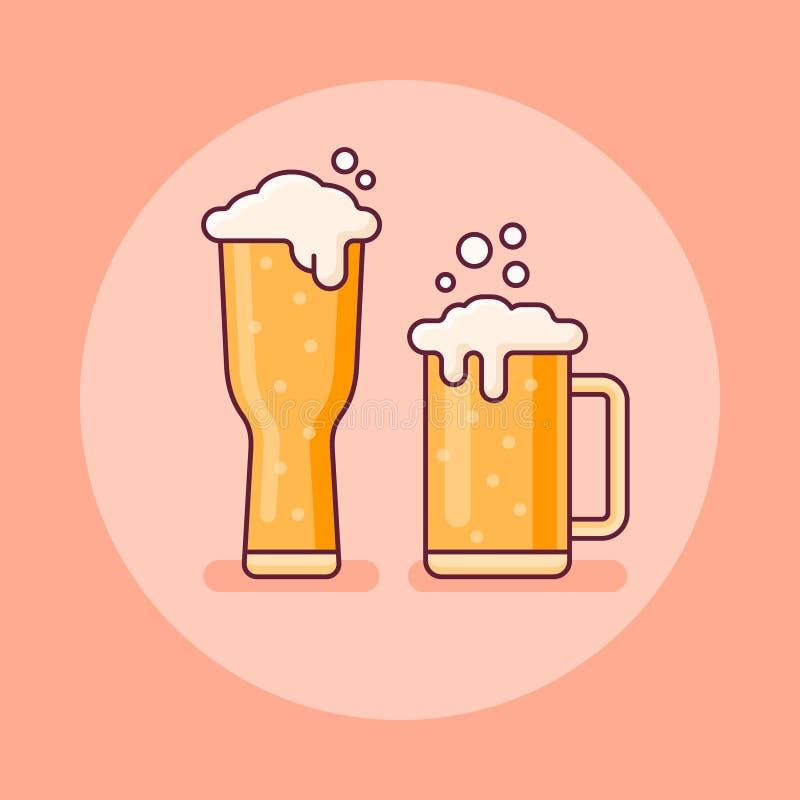 两杯啤酒平的线象 也corel凹道例证向量 向量例证