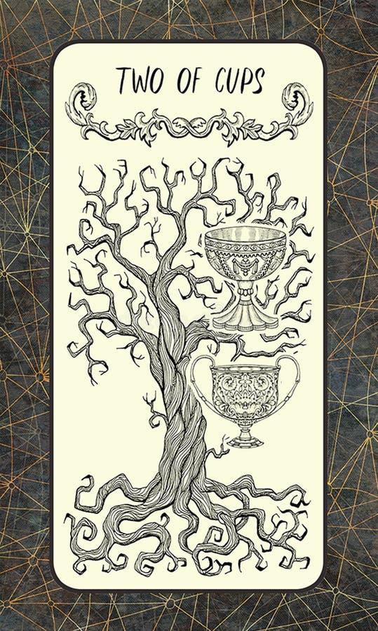 两杯子 较小奥秘占卜用的纸牌 皇族释放例证