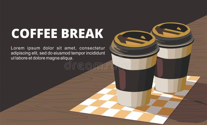 两杯纸咖啡在木桌上的 皇族释放例证