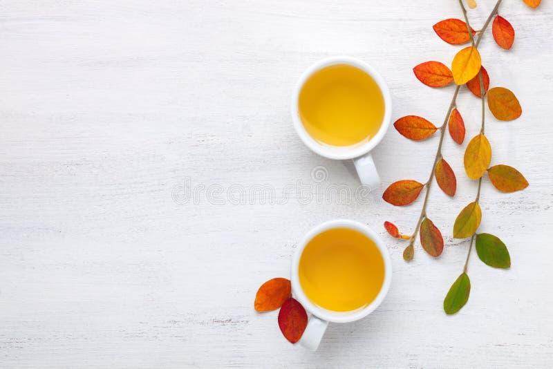 两杯茶和五颜六色的秋叶在土气桌上 图库摄影