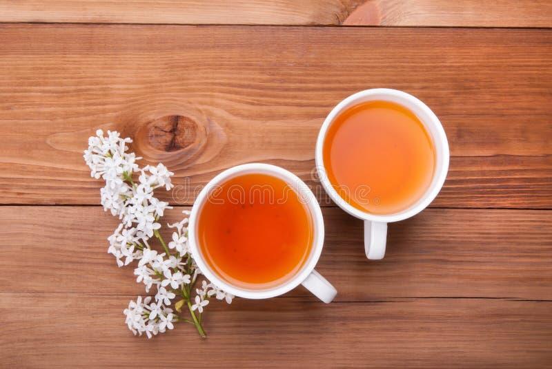 两杯茶和淡紫色芽 免版税库存图片