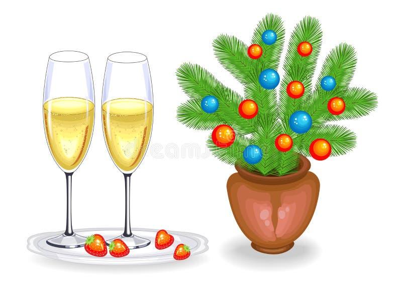 两杯香槟和红色草莓 假日圣诞节,新年 r 向量例证