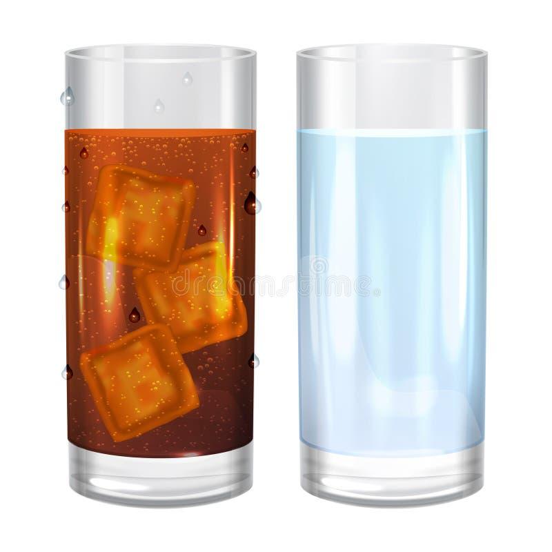 两杯水和可乐苏打 也corel凹道例证向量 向量例证