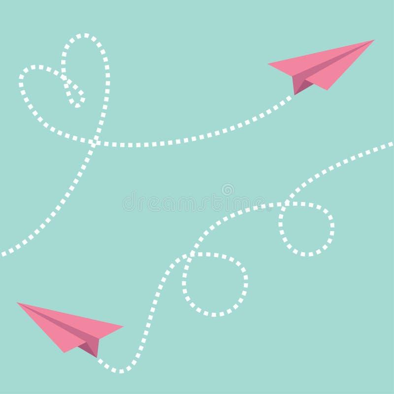 两桃红色飞行origami纸飞机 破折线心脏圈愉快的情人节贺卡模板蓝天背景平的d 库存例证