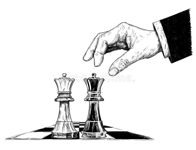 两棋国王Facing的传染媒介艺术性的图画例证 皇族释放例证