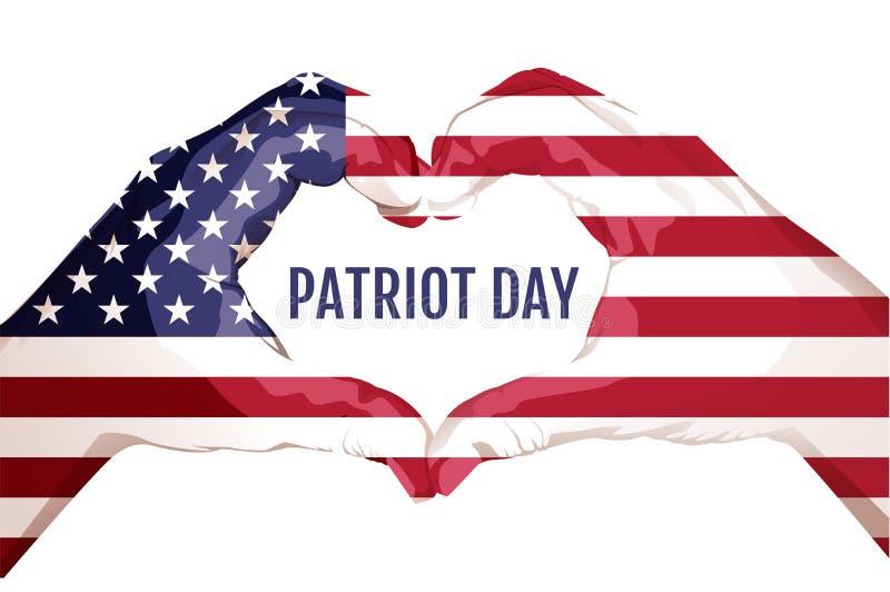 两棵棕榈做心脏形状 9月11日爱国者天 星被剥离的美国国旗美国 向量例证