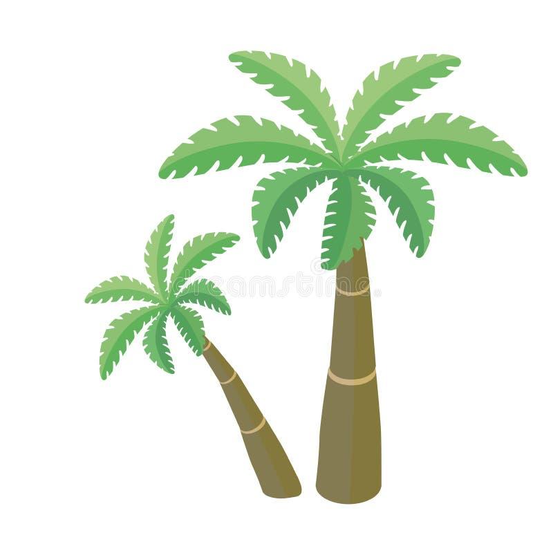 两棵棕榈树,在白色背景的传染媒介例证 库存例证