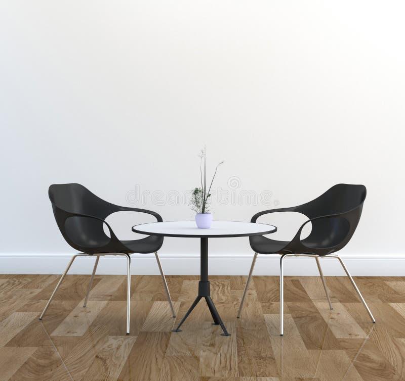 两椅子和饭桌、木地板和whitte墙壁 3d?? 皇族释放例证