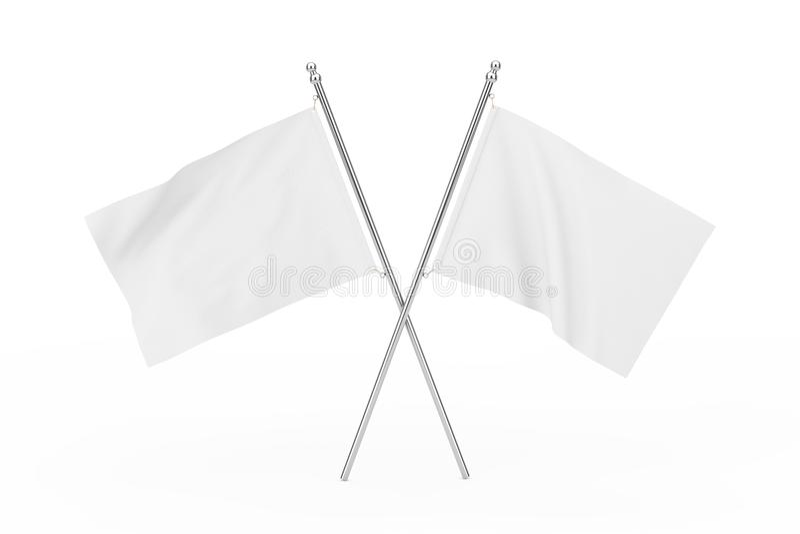 两横渡了白色空白的旗子 3d翻译 皇族释放例证
