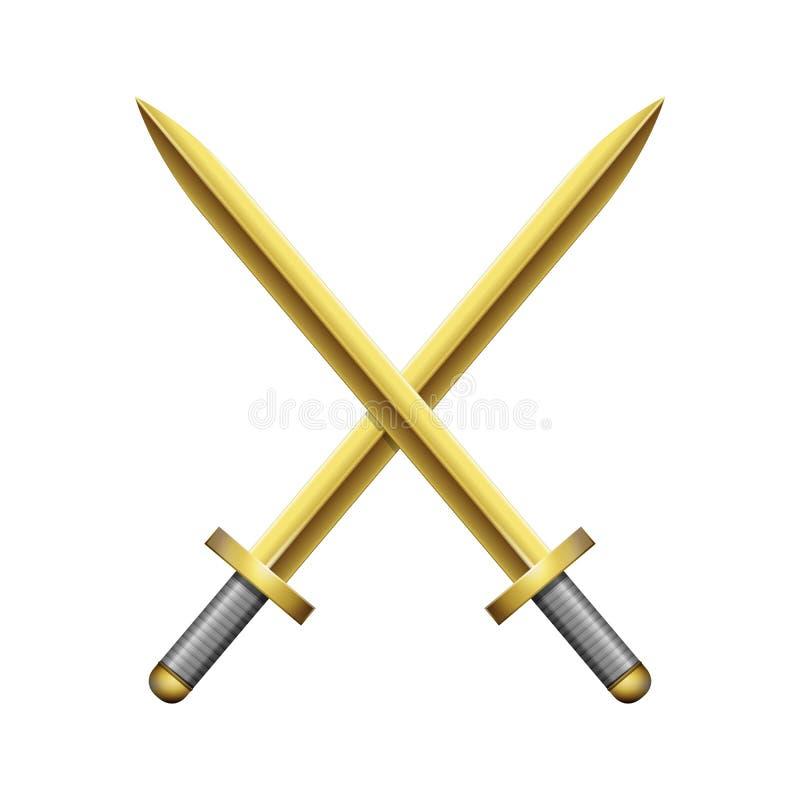 两横渡了金黄剑 向量例证
