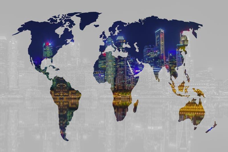 两次曝光世界地图和新加坡市背景 要素 库存照片
