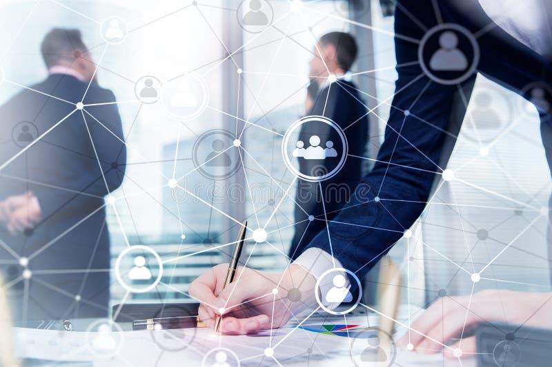 两次曝光人网络结构 HR -人力调配和补充概念 免版税库存照片