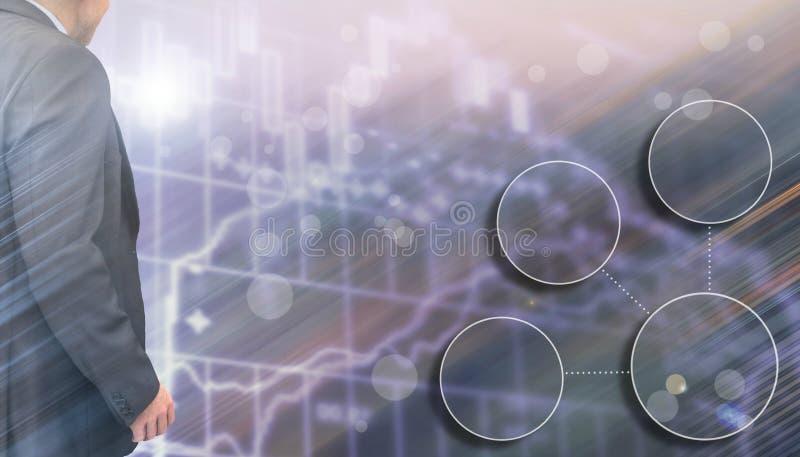 两次曝光图表和圈子形状/投资管理人员的商人工作 库存图片