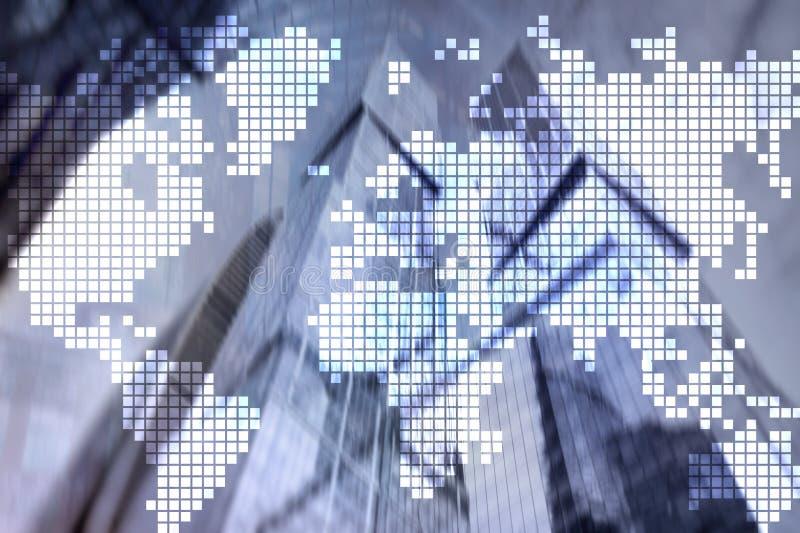两次曝光在摩天大楼背景的世界地图 通信和全球企业概念 免版税库存照片