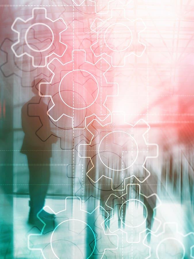两次曝光在被弄脏的背景的齿轮机构 企业和工业生产方法自动化概念 抽象盖子设计 皇族释放例证