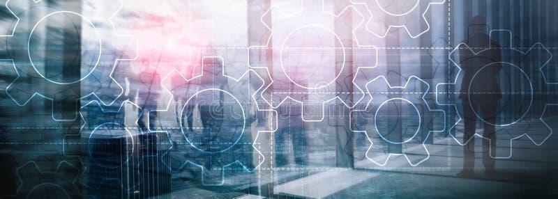 两次曝光在被弄脏的背景的齿轮机构 企业和工业生产方法自动化概念 免版税库存照片