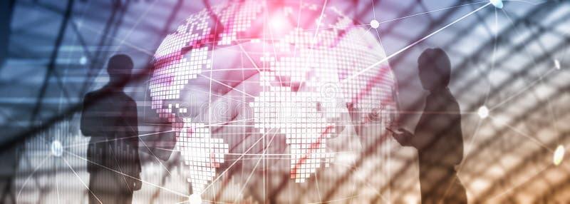 两次曝光混合画法 3D地球行星全息图和通信结构 全世界网络和全球化概念 库存图片