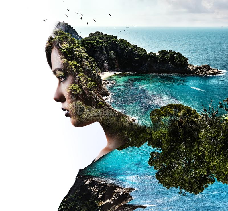 两次曝光 妇女和自然 图库摄影
