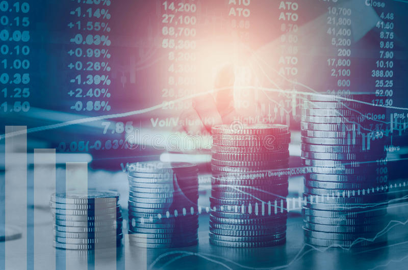 两次曝光财政索引和股市在会计 库存照片