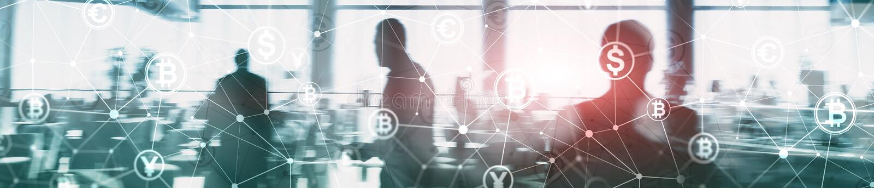 两次曝光Bitcoin和blockchain概念 数字式经济和货币贸易 网站倒栽跳水横幅 图库摄影