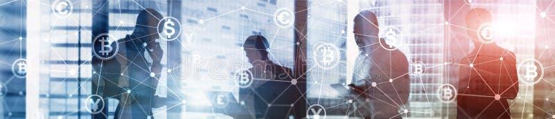 两次曝光Bitcoin和blockchain概念 数字式经济和货币贸易 网站倒栽跳水横幅 免版税库存图片