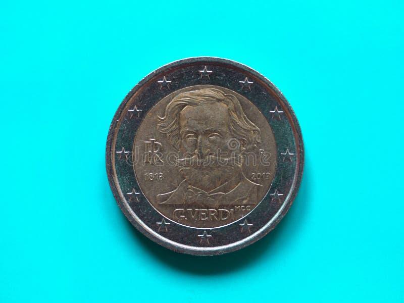 两欧元硬币,在青绿的欧盟 免版税库存照片